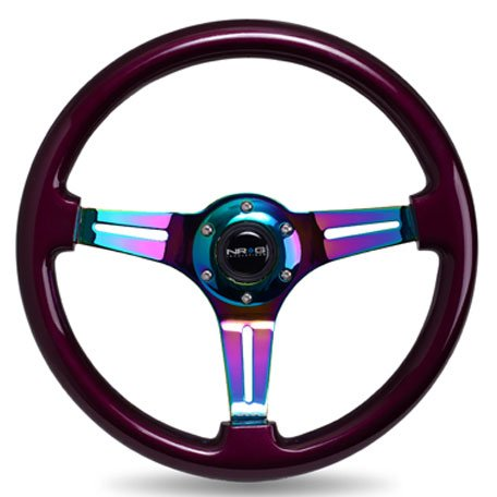 nrg-innovations-st-015mc-pp-classic-wood-grain-wheel-350mm-3-neochrome-spokes-purple-pearl-paint