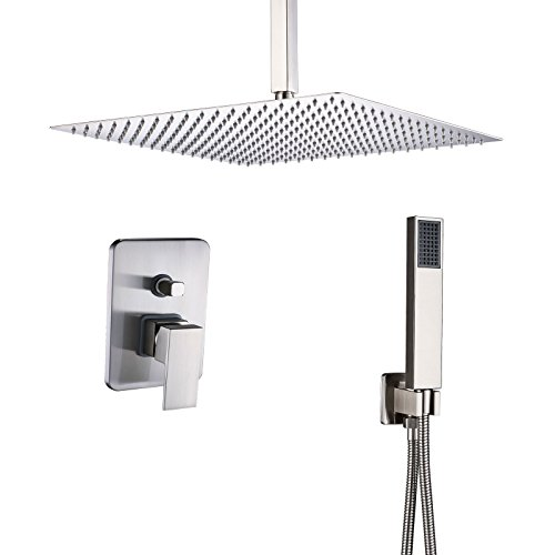 Rozin Bathroom 2-way Diverter Shower Mixer Kit Ceiling Mounted 12-inch Rainfall Shower Head + Hand Spray Brushed Nickel ()