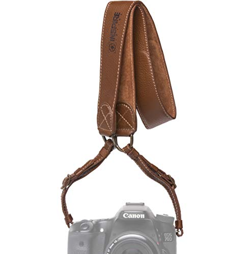 Inspire in Time Camera Neck Strap - Genuine Leather Adjustable Straps Universal Interfaces Mirrorless DSLR Cameras, Nikon, Canon, Sony, Olympus, Panasonic, Fuji & More, ()