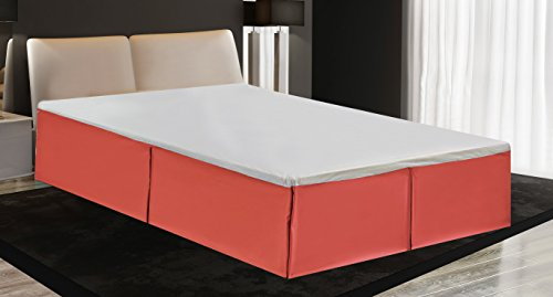 "MK Home Mk Collection Solid Pleated Bed Skirt 14"" Drop New (Coral, Queen)"
