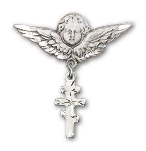 Icecarats Créatrice De Bijoux En Argent Sterling Orthadox Grec Croix Charme Ange Broche De Badge 1 1/4 X 1 1/8
