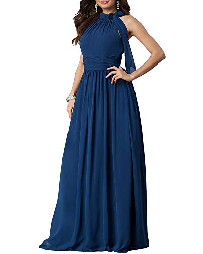 Aofur New Lace Long Chiffon Formal Evening Bridesmaid Dresses Maxi Party Ball Prom Gown Dress Plus Size (Small, Blue Short Sleeve)