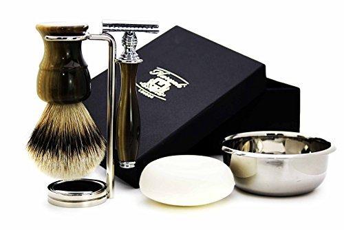 Men's Shaving Classic Horn Replica Set featuring Top Grade Silver Tip Badger Brush, DE Safety Razor, Dual Brush & Razor Stand, Stainless Steel Shaving Bowl & Soap > Gent's Grooming Kit