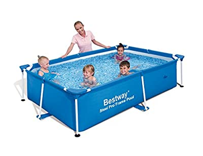 Bestway 56547 Rectangular 94in x 59in x 23in Splash Metal Frame Outdoor Above Ground Kids Toddlers Kiddie Swimming Pool with Repair Patch & Instructional Set Up DVD