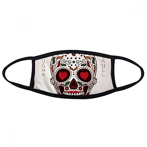 Flower Cirrus Heart-shape Eyes White Sugar Skull Mexico Culture Face Anti-dust Mask Anti Cold Maske - Face Heartshape
