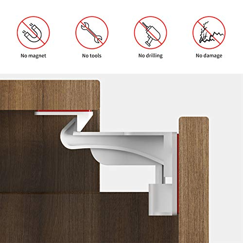 CalMyotis Child Proof Cabinet Locks, Baby Proofing Locks, Cabinet Locks Child Safety Latches with Strong Adhesive for Cabinets and Drawers, 10 Pack