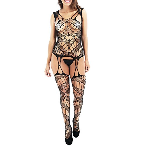 Sexy Lingerie for Women for Sex Hollow Out Hole Fishnet Crotchless Bodystocking Leotard Open Crotch Stretch Tights Nightwear Teddy Babydoll Bodysuit Clearance (Black, Free Size) (Lace Catsuit Stretch)