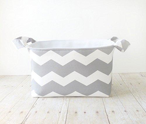 Fabric Storage Basket with Handles - Gray Chevron