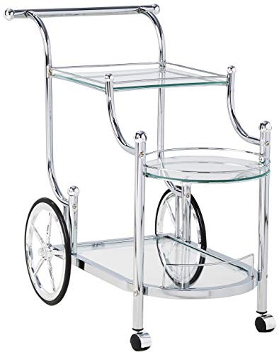 - Wheeled Serving Cart with Finials Chrome and Clear