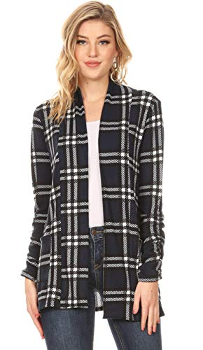 - Long Sleeve Cardigan Sweater for Women with Pockets - Made in USA (Size X-Large US 14-16, Navy - Black Plaid)