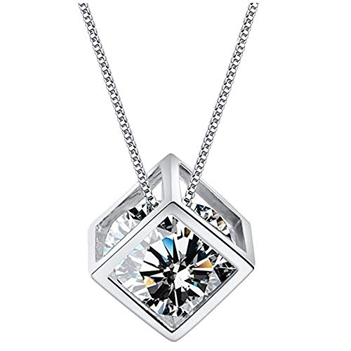 MINI LIFE S925 Sterling Silver Pendant Necklace Jewelry with 14k Platinum Gold Plated,Swarovski Elements Crystal (White Cube) ()