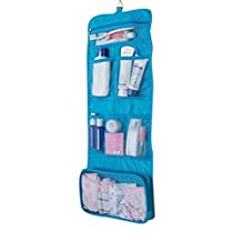 Doshop Portable Multi-purpose Travel Large Capacity Roll-up Storage Bag Underwear Cosmetic Makeup Wash Toiletry Shower Hanging Bag Case Pouch Bathroom Organizer with Hook (Blue)
