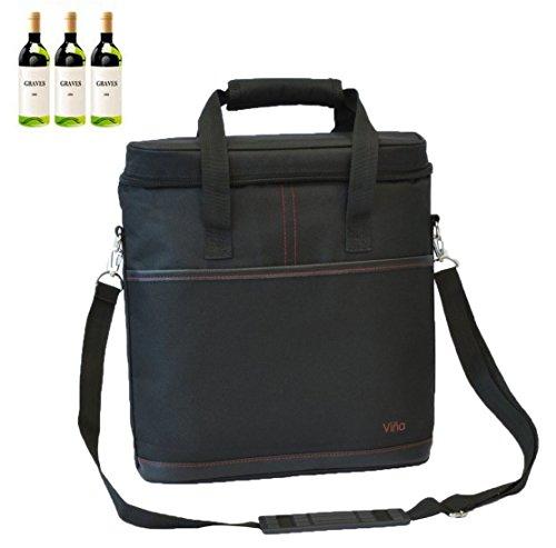 Vina 3 Bottles Wine Travel Carrier Tote, Champagne Cooler Insulated Picnic Food Bag by VINA