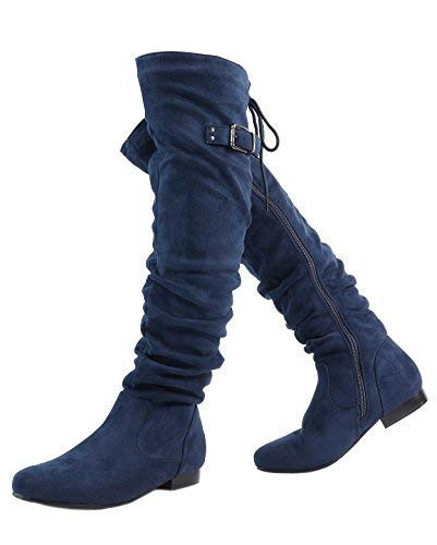 DREAM PAIRS Women's Colby Blue Over The Knee Pull On Boots - 11 M US