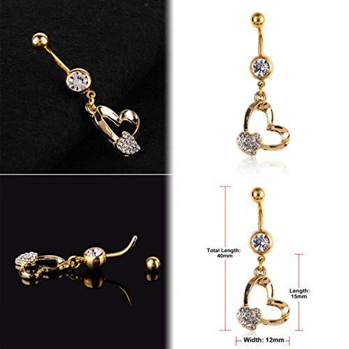 Stylish Navel Belly Ring Rhinestone Button Bar Barbell Body Piercing Jewelry (Design - Heart)