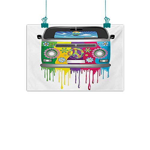 all Art Decor Poster Painting Hippie Van Dripping Rainbow Paint Good Old Days Pop Culture Vacation Transport Decorations Home Decor 24
