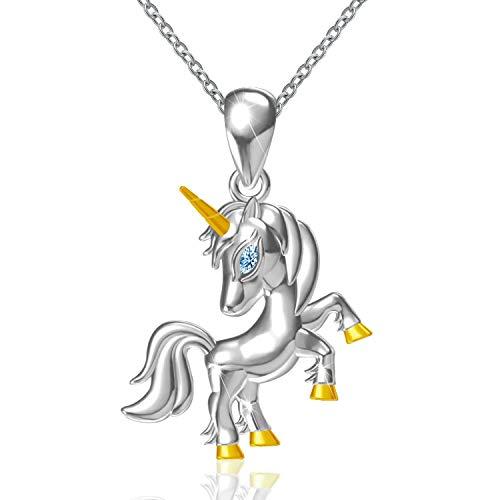 - ACJNA 925 Sterling Silver Unicorn Pendant Necklace for Girl Women (Unicorn)