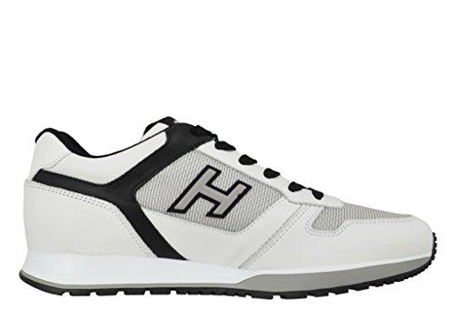 Hogan Scarpe Uomo Sneakers H321 MOD Allacciato H Flock HXM3210Y110GBX014K Bianco e Nero N. 42.5 EU