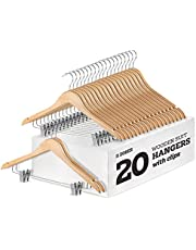 High-Grade Wooden Suit Hangers Skirt Hangers with Clips Smooth Solid Wood Pants Hangers with Durable Adjustable Metal Clips, 360° Swivel Hook, Shoulder Notches for Dress, Jackets, Blouse (Natural Wood, 20 pack)