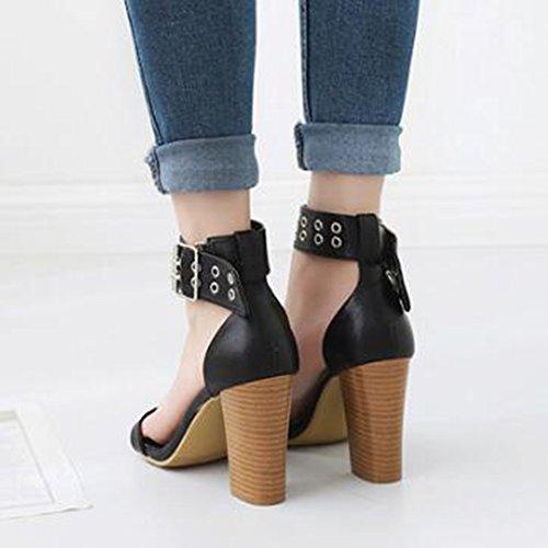 Easemax Womens Trendy Cheville Boucle Sangle À Bout Ouvert Haute Chunky Talon Sandales Noir