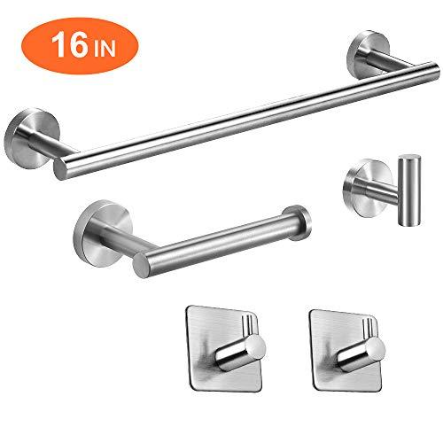 "TocTen 5-Piece Set-Bathroom Hardware Set-SUS304 Stainless Steel - Include 16"" Lengthen Hand Towel Bar+Toilet Paper Holder+3 Robe Towel Hooks Bathroom Accessories Kit (Brushed Nickel)"