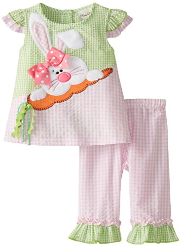 Capris Rare Pink Editions (Rare Editions Little Girls' Seersucker Bunny Applique Capri Set, Pink/Lime, 6)