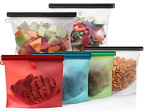 Reusable Silicone Food Storage Bag by Katchy Kitchen - (Set of 6) Zip Top Containers - Bags for Meal Prep & Cooking - Great for Sous Vide, Sandwiches, Meat, Vegetables, Marinade, Hiking, Camping