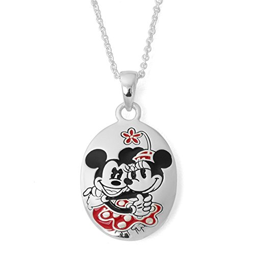 """Disney Mickey and Minnie Mouse Jewelry for Women, Silver-Plated Perfect Match Pendant Necklace, 18"""" Chain"""