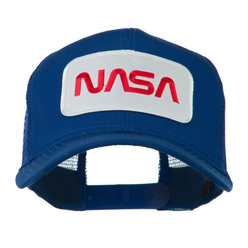- NASA Logo Embroidered Patched Mesh Back Cap - Royal OSFM