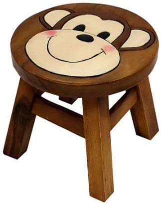 Klass Home Collection Children Kids Wooden small foot Stools Solid Pine various Characters Kitchen Seat or Child Step Stool Chair (Monkey)