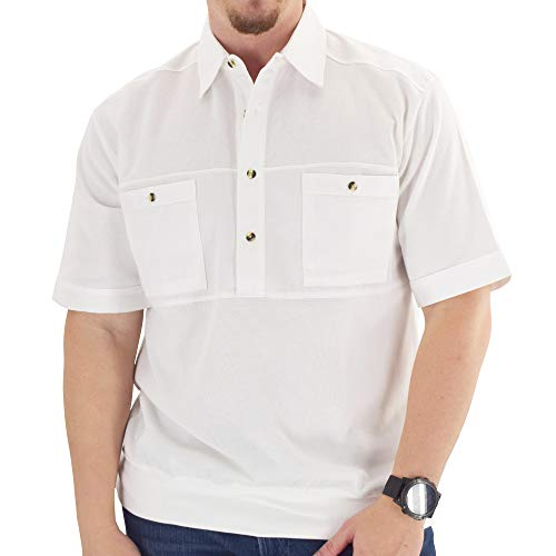 Mens Short Sleeve Solid Knit Banded Bottom Shirt with Woven Chest Panel 6041-22N (XL, White)