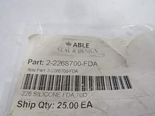 Able Seal 2-226S700-FDA Silicon O-Ring 50.39mm ID 57.45mm OD 25 PK