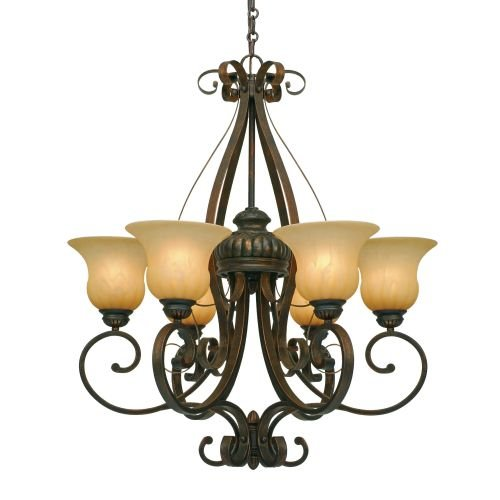 Golden Lighting 71166LC  Chandelier with Creme Brulee Glass Shades,  Leather Crackle Finish