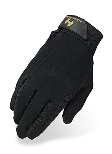 Heritage Cotton Grip Gloves, Size 8/9, Black
