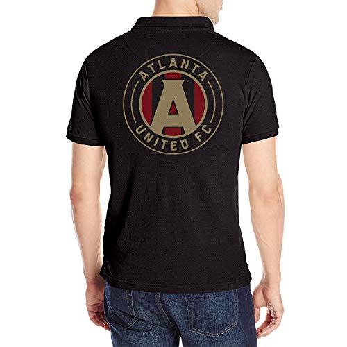 (Atlanta United Racer Men's Short Sleeve (Back Print) Polo Tee Shirt S Black)