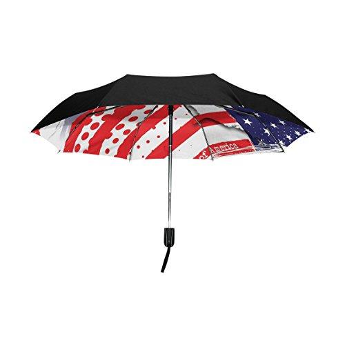 baihuishop la bandera americana resistente al viento Golf Paraguas Auto abierto cerca de 3 plegable resistente protección UV paraguas de viaje compacto ...