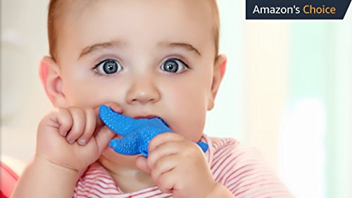 WowieStar - USA FDA Compliant Medical Grade Silicone Baby Teether, Teething toy - Caribbean Blue, Reduce Tooth Ache, Massage Sore Gums, Perfect Baby Gift, Baby Shower Gift, Made in USA, fun bath toy