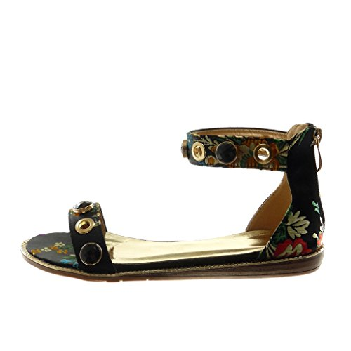 cm 5 Sandalias Correa Negro 1 Bordado Joyas Zapatillas Plataforma Mujer Flores Moda de Tobillo Angkorly fZBqHw6