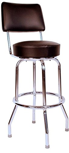 Richardson Seating 0-1957BLK Swivel Bar Stool with Back Chrome Frame and Seat, Black, 30