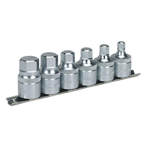 (Sealey AK6561 Hex Socket Bit Set with Rail 6pc Stubby 1/2