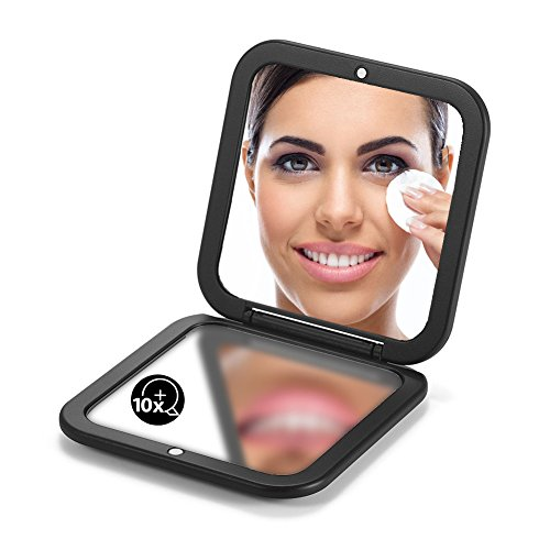 OMIRO Folding Compact Mirror, 1X 10X Magnification 3 Pocket Size Square Hand Mirror for Travel Makeup Black