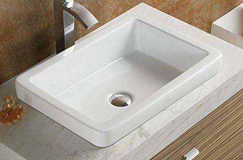 Elimax s Bathroom SR-7444 Ceramic Porcelain Vessel Sink With Free Chrome Pop Up Drain Chrome Pop UP Drian , SR-7444-White Chrome Drain