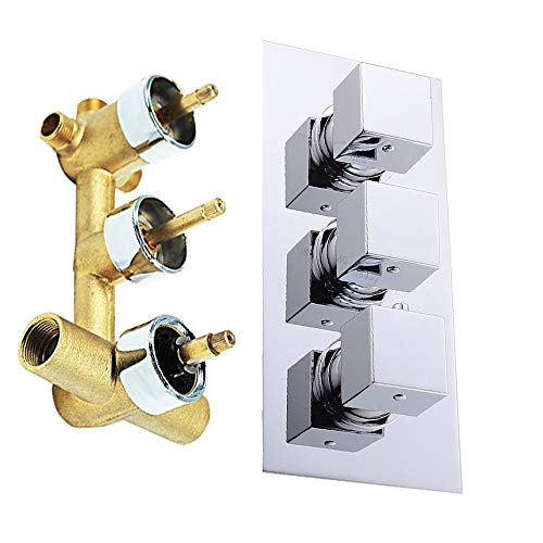 HOMEDEC Solid Brass 3-Way Thermostatic Mixing Shower Valve Water Diverter, Inlet 3/4