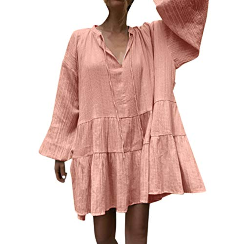 Tantisy ♣↭♣ Women's Plus Size Casual Ruffle Loose Lantern Sleeve Short Swing Tunic Shift Dress ()