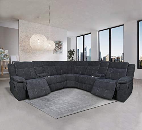 Manual Reclining Sectional Sofa Fabric Upholstery Sofa Set