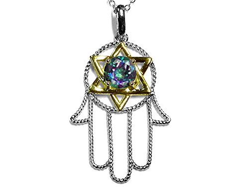 Star K Solid 10k Two Tone Gold Large Hamsa Hand Jewish Star of David Pendant Necklace