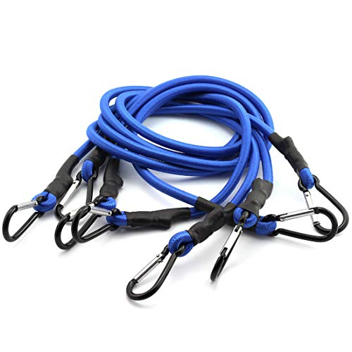 HJ Garden 4pcs 8mm x 90cm Bungee Cord with Carabiner Hook Heavy Duty Straps 2 Climbing Hooks Strong Elastic Rope Shock Cord Tie Down Set Blue