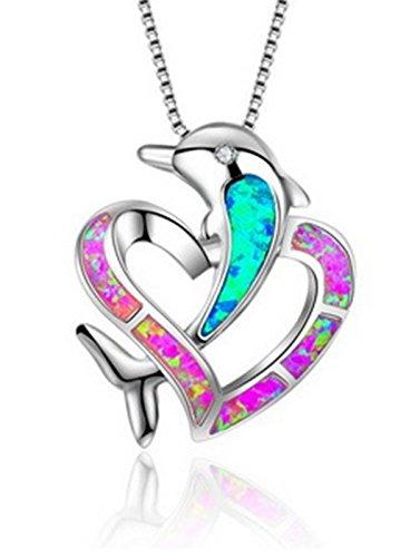 Ezio Robes (Fortonatori Created Blue Opal Necklace Dolphin Pink Heart 925 Silver Pendant Necklace 18