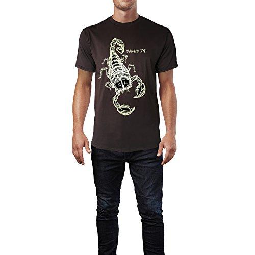 SINUS ART® Gezeichneter Skorpion Herren T-Shirts in Schokolade braun Fun Shirt mit tollen Aufdruck