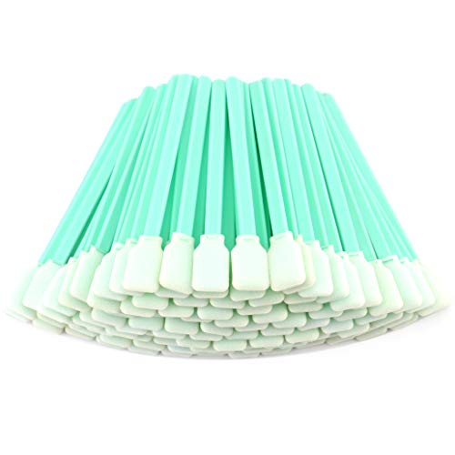 "Fasmov 100pc 5"" Square Rectangle Foam Cleaning Swab Sticks for Inkjet Print Head Optical Lens Gun Cleaning Solvent Resistance"